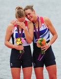 Rowers Helen Glover and Heather Stanning of Great Britain got emotional after winning gold.