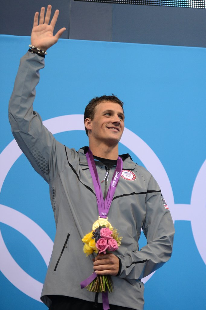 Ryan waved from the podium after receiving his gold medal.