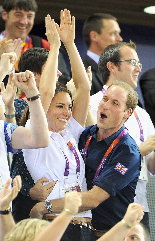 Prince William and Kate hugged after Team GB won gold over France in track cycling.