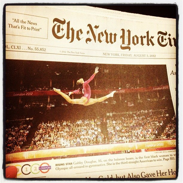 Rebecca Minkoff showed off Gabby Douglas's amazing New York Times article.  Source: Instagram user rebeccaminkoff