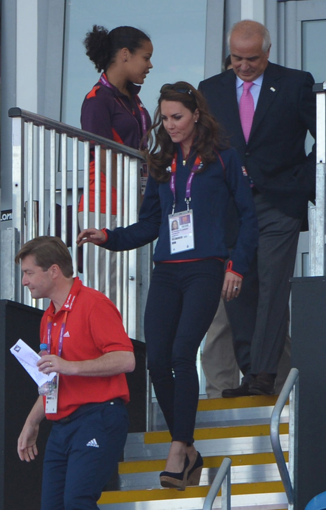 Kate Middleton walked down the stairs in the arena.
