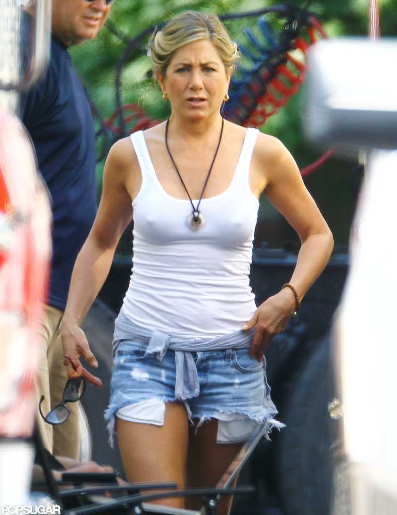 Jennifer Aniston wore a white tank top and denim cut-offs on the set of We're the Millers.