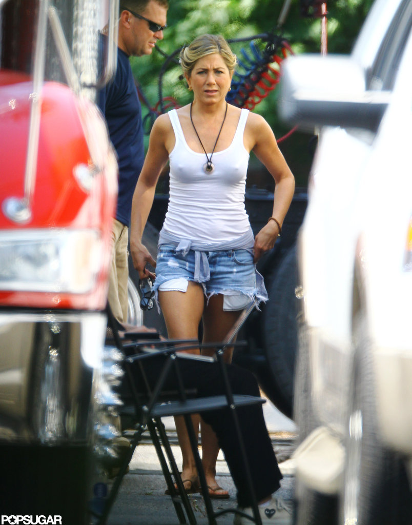 Jennifer Aniston filmed a scene on the set of We're the Millers.