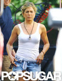 Jennifer Aniston wore cut off shorts on the set of We're the Millers.