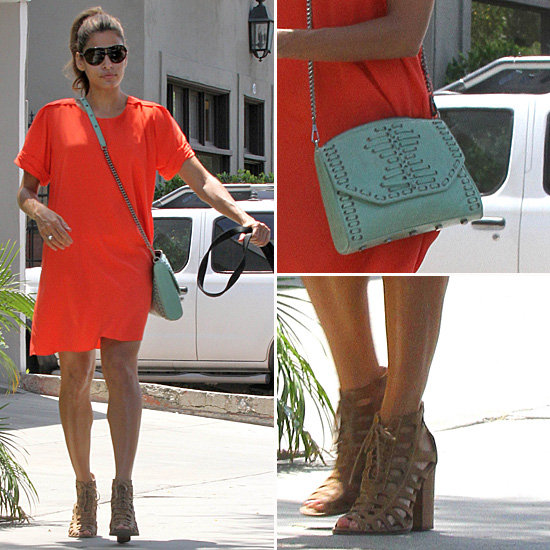 Eva Mendes Wearing an Orange Dress
