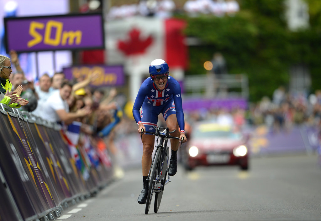 After coming out of retirement to defend her gold medal, 38-year-old Kristin Armstrong (no relation to Lance) won the women's cycling time trial.