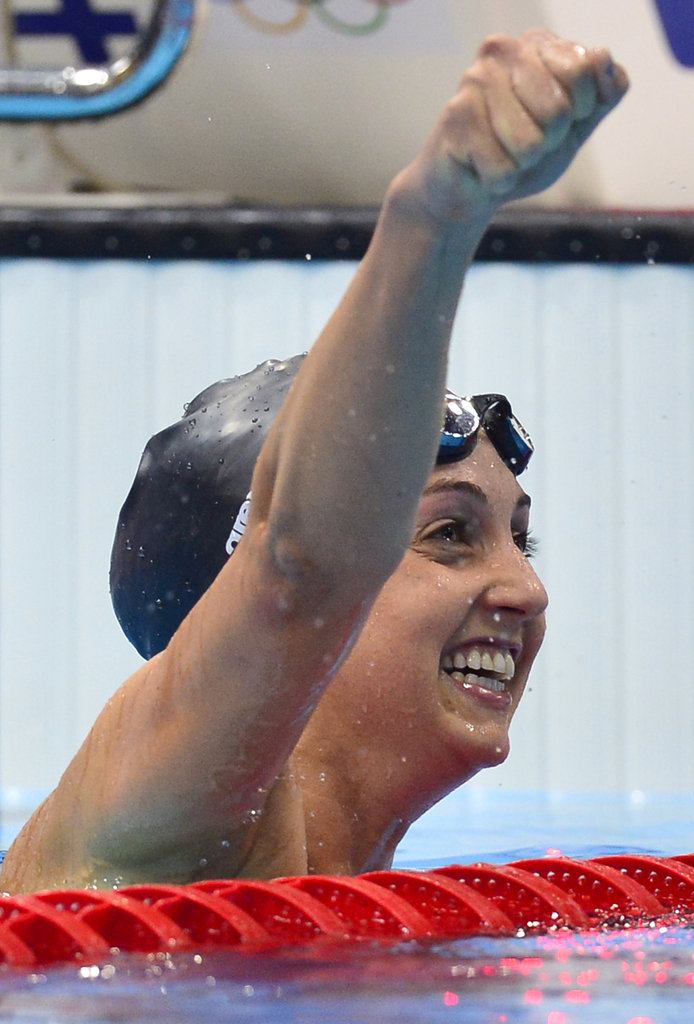Breaststroke queen Rebecca Soni did a little fist pumping after setting a new world record (and winning gold) in the 200m breaststroke.