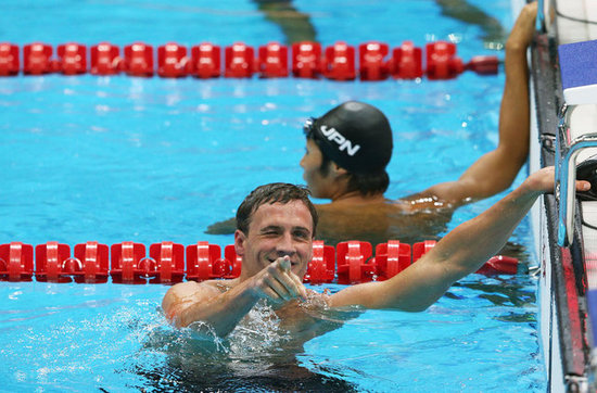 Ryan Lochte winked to the camera after his stunning first-place win.