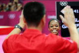 US gymnast Gabby Douglas was all smiles after her big all-around win.