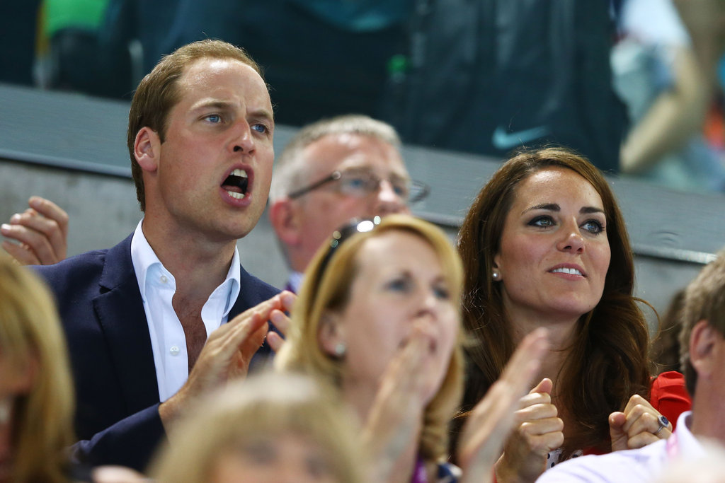Prince William cheered on the Olympic swimmers.
