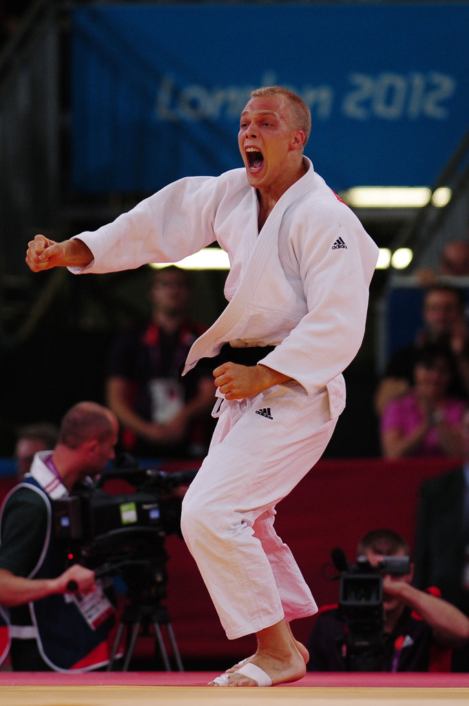 Judo competitor Henk Grol of Netherlands was psyched on his win.