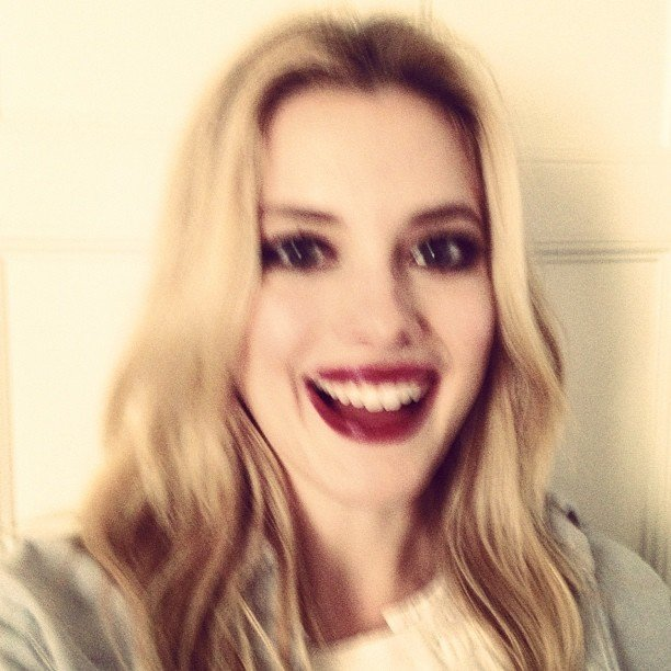 Gillian Jacobs wore red lipstick. Source: Instagram user gillianjacobs