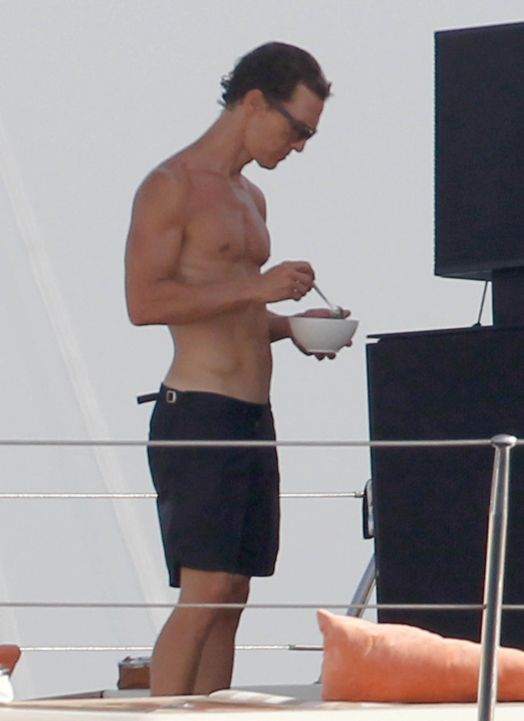 Matthew McConaughey showed off his muscles during an August 2012 vacation in Ibiza, Spain.
