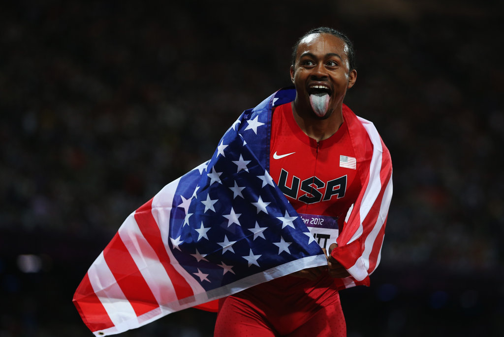 US hurdler Aries Merritt made a face after winning gold.
