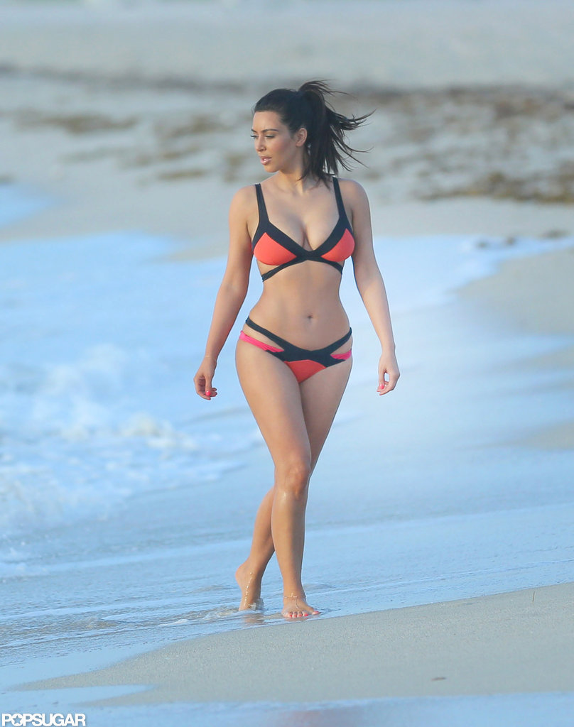 Kim Kardashian wore a colorful Agent Provocateur bikini on Miami Beach in July 2012.