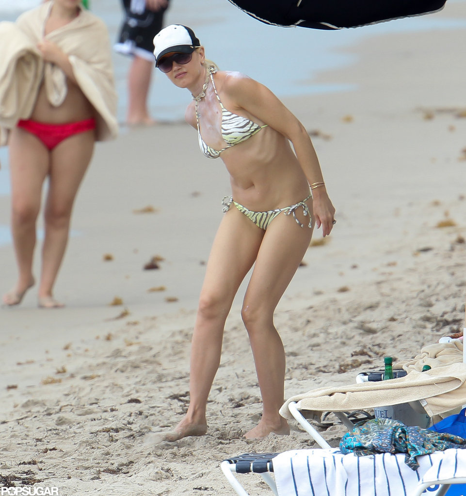 Gwen Stefani wore a bikini and a hat.