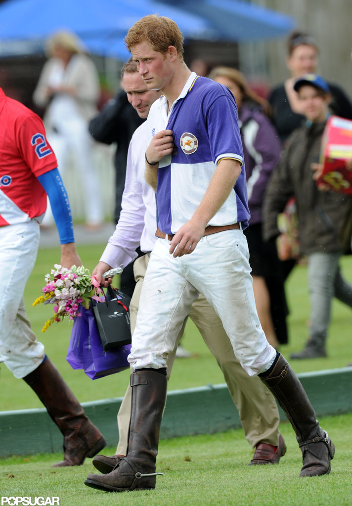 Prince Harry wore purple and white for the polo match.