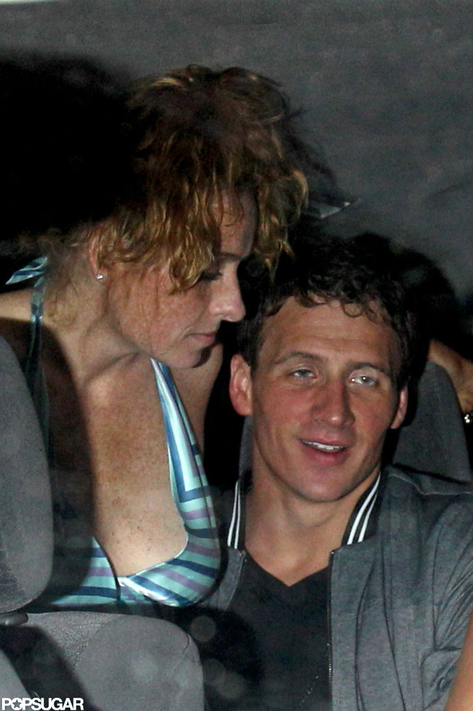 Ryan Lochte left a nightclub in London with a female friend on his lap.