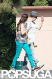 Selena Gomez Links Up With Boyfriend Justin Bieber on Her New Set
