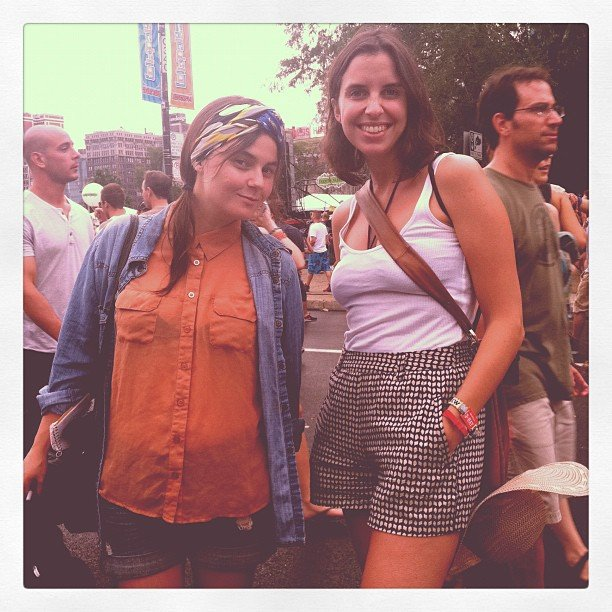 Checkered shorts, printed heads scarves, and denim shirts all made an appearance at Lollapalooza.