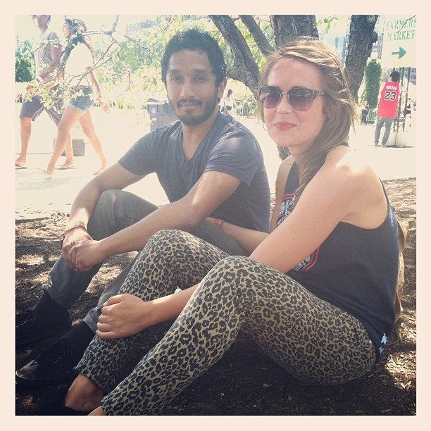 We spotted (literally) this cute couple and couldn't help but love her exotic printed pants.