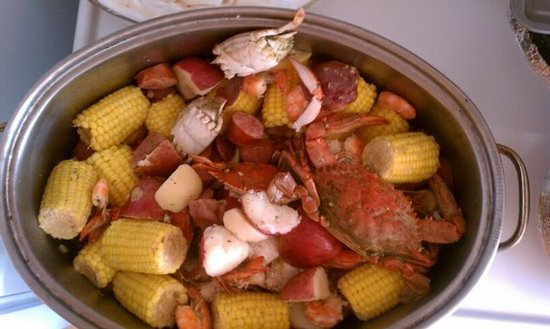 Low country boil with local blue crab