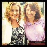 Angela Kinsey snapped The Office costars Jenna Fischer and Ellie Kemper. Source: Instagram user angekinz