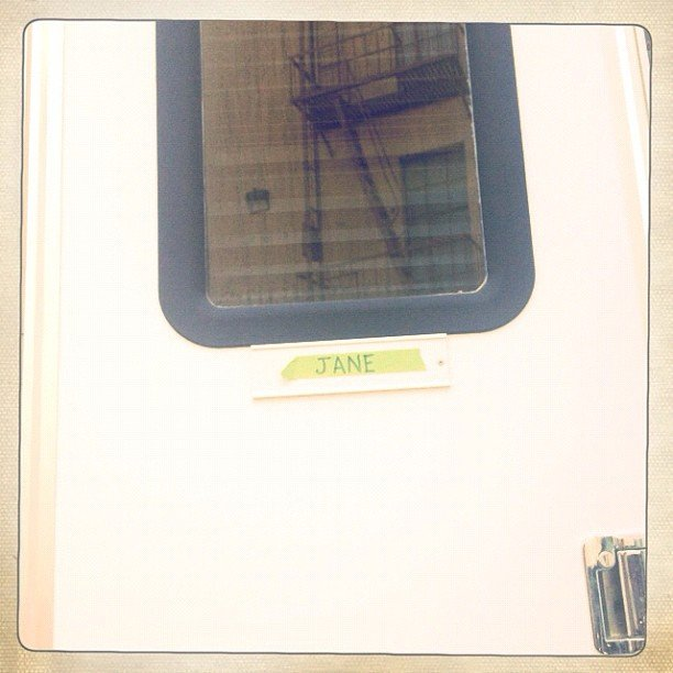 Eliza Coupe is back on the set of Happy Endings and shared a shot of her trailer door, bearing her character's name. Source: Instagram user elizamuthafuckincoupe