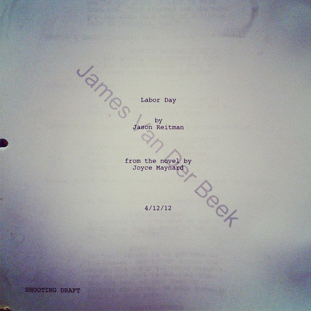 James Van Der Beek snapped his script for Labor Day, Jason Reitman's next film. Source: Instagram user vanderjames