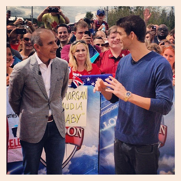 Michael Phelps stopped by the Today show while in London. Source: Instagram user todayshow