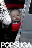 Samuel Affleck was snuggled in his car seat during a trip to Baskin-Robbins.