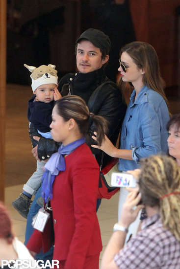 Miranda Kerr and Orlando Bloom Touch Down With Their Little Fox Flynn