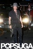 Johnny Depp posed outside of Aerosmith's afterparty in LA.