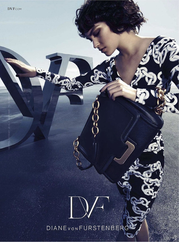 The signature Diane von Furstenberg wrap makes its appearance via Arizona Muse in the designer's Fall ads.