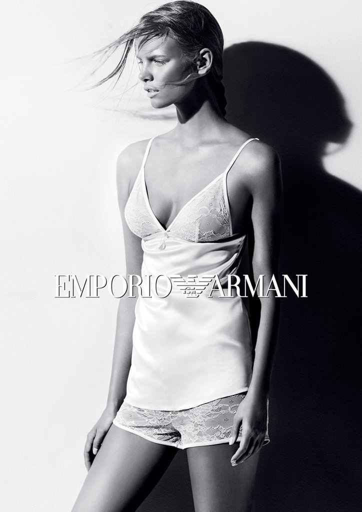 Lacy camisoles and sexy boy shorts are par for the course in Emporio Armani's Fall 2012 campaign.
