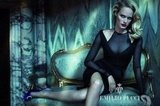 Amber Valletta poses as a sexy vixen — sheer LBD and all — for Emilio Pucci's Fall campaign.