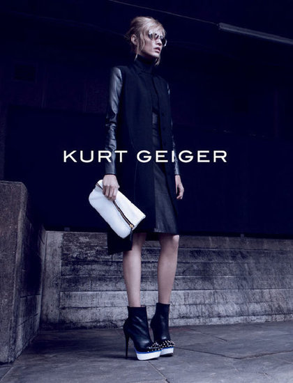 A tough mix of leather and crisp whites for Kurt Geiger's autumnal ads.