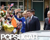 Naomi Watts waved to fans while filming as Princess Diana.
