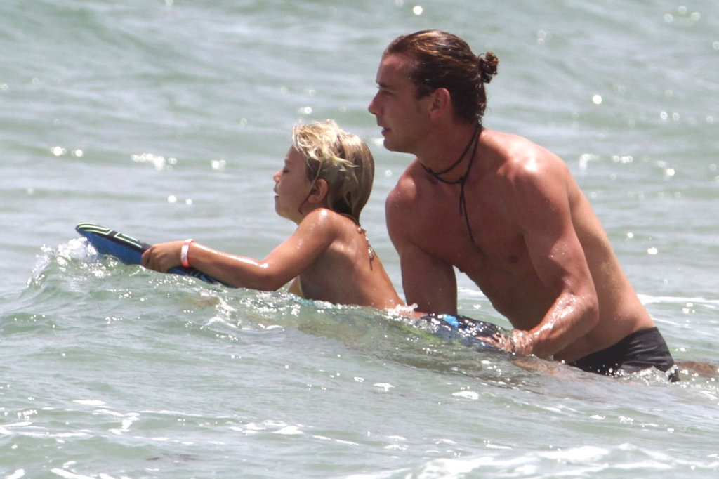 Gavin Rossdale gave his son Kingston a push during a family visit to Palm Beach in August 2012.
