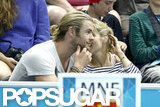 Elsa Pataky chatted with her husband at the Olympics.