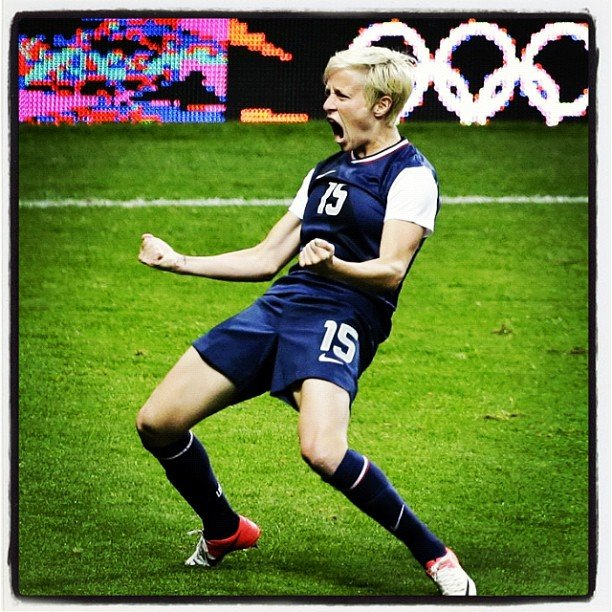 USA soccer star Megan Rapinoe showed her excitement during a tough match.  Source: Instagram user mrapinoe