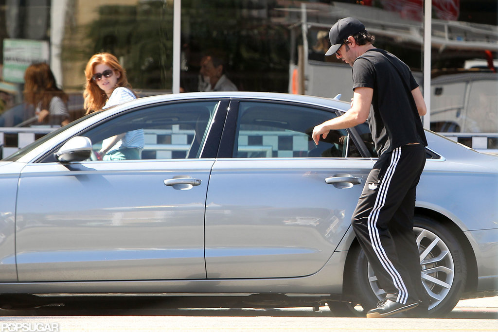 Isla Fisher and Sacha Baron Cohen got into the car together.