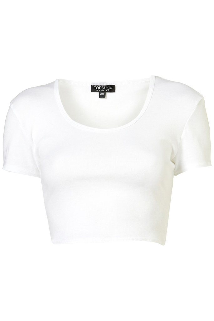My favorite trend right now is the crop top. This basic white crop t-shirt ($16), can be paired with anything – high waisted shorts, colored skirts, or patterned pants.   -– Colleen Doyle, editorial intern