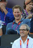 Prince Harry laughed during the beach volleyball match.