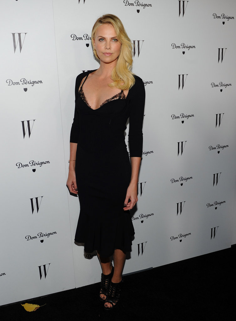 Charlize showed a hint of lace at W Magazine's Golden Globes celebration at the Chateau Marmont in Jan. 2012.