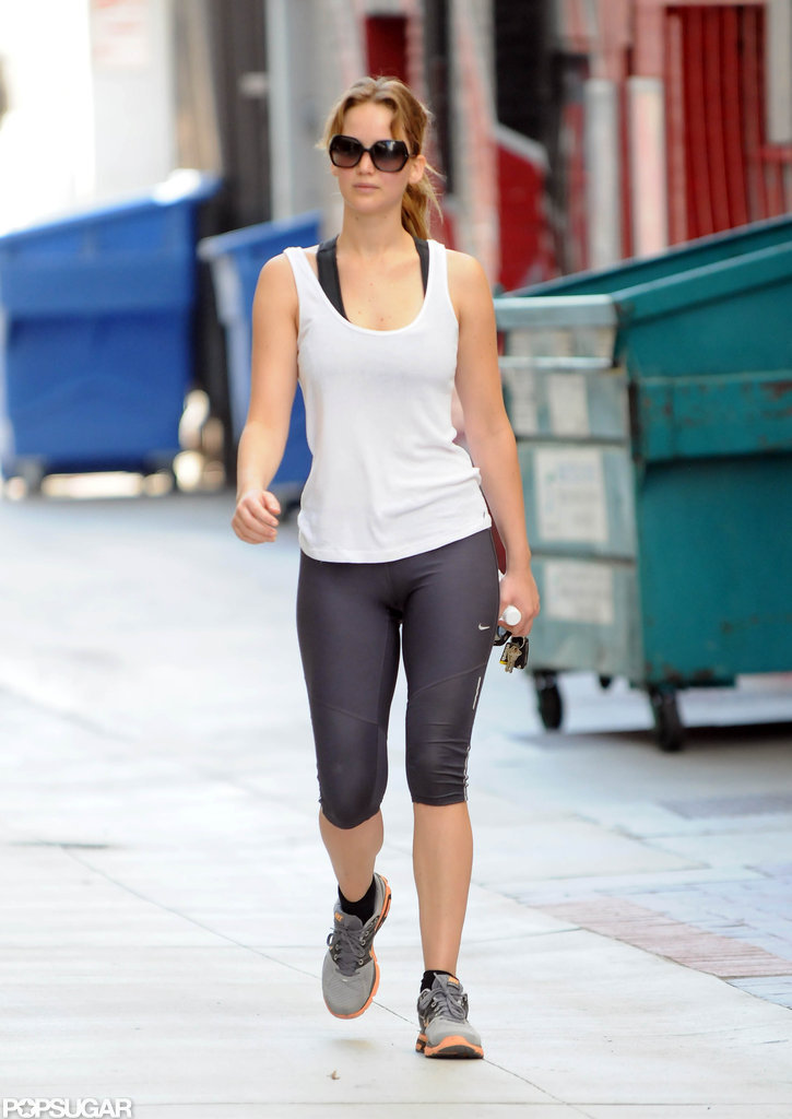 Jennifer Lawrence left a gym in California.