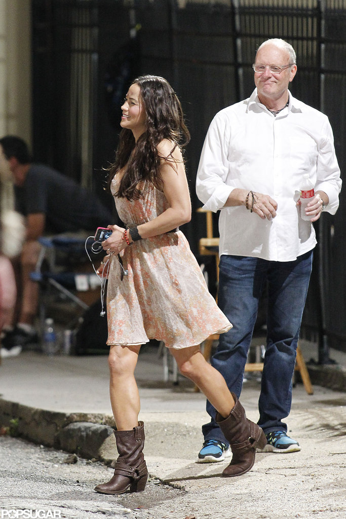 Paula Patton paired cowboy boots with her flirty dress.