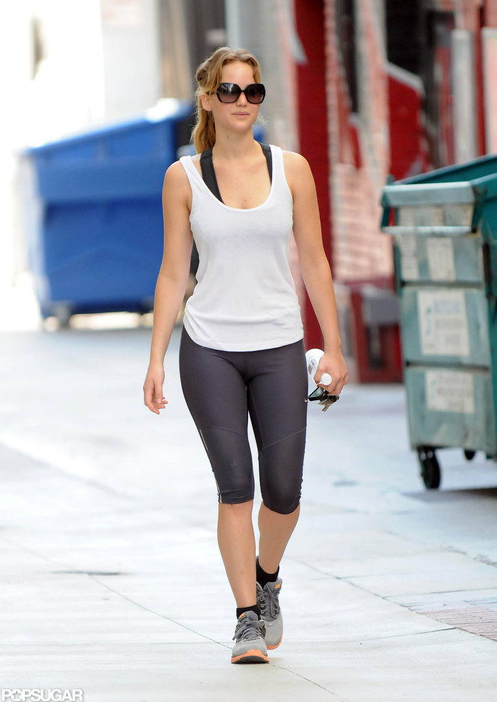 Jennifer Lawrence wore oversized sunglasses while leaving the gym.