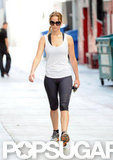 Jennifer Lawrence donned both Nike pants and sneakers for the gym.