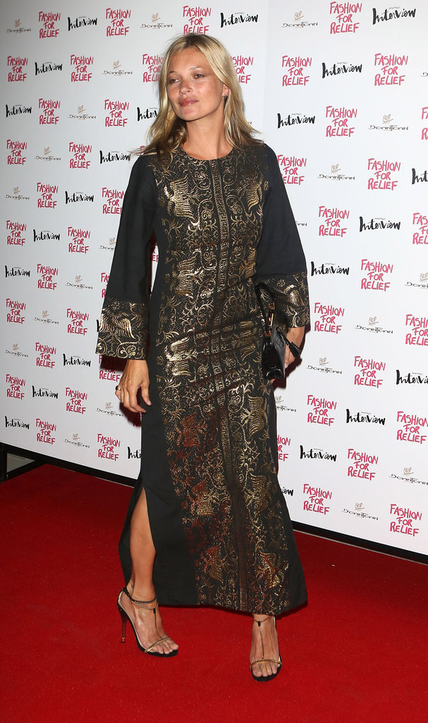 Kate Moss hit the red carpet to attend Naomi Campbell's Fashion for Relief charity dinner in London.